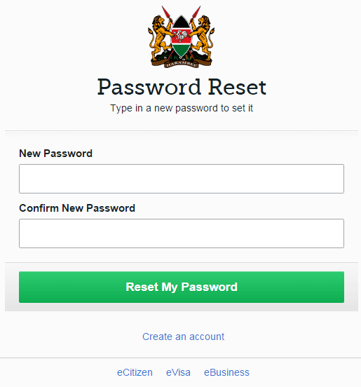 e-citizen password reset screen.