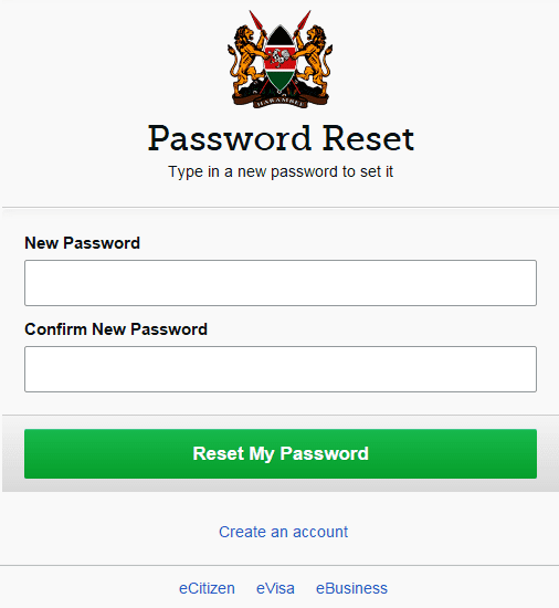 new password reset
