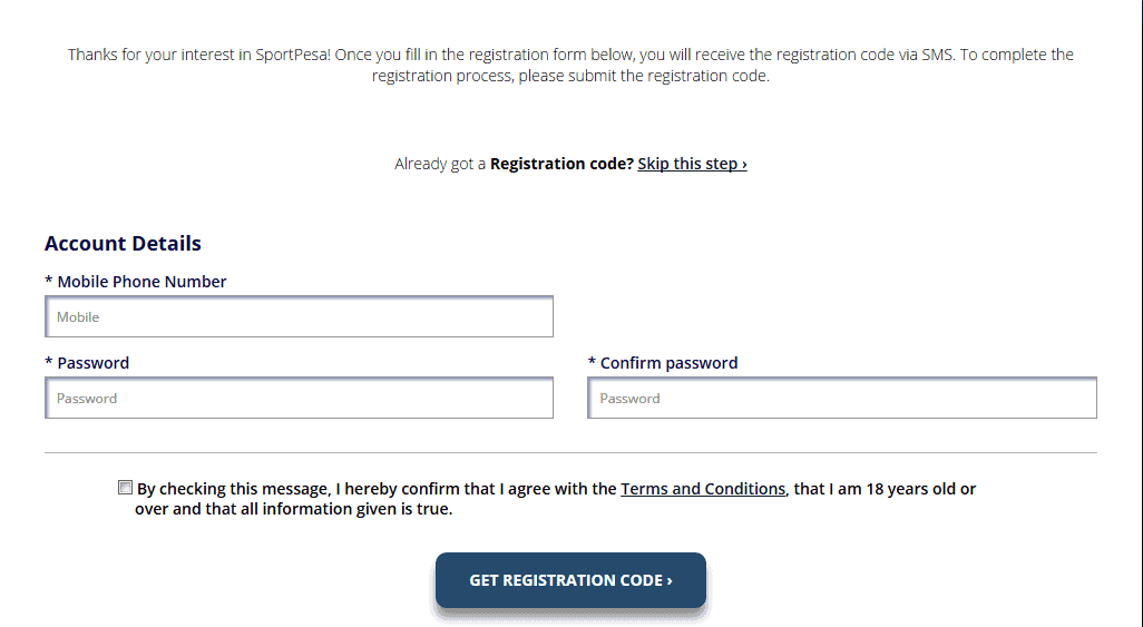 Sportpesa Registration through website