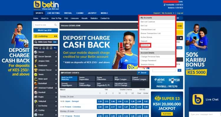 Withdrawing Funds From Betin Kenya.