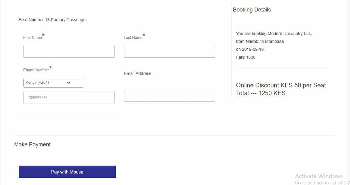 Mpesa option for modern coast booking online,