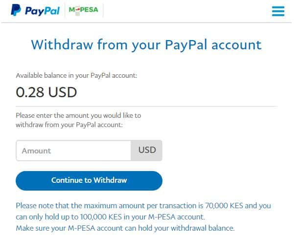 paypal to mpesa withdrawal